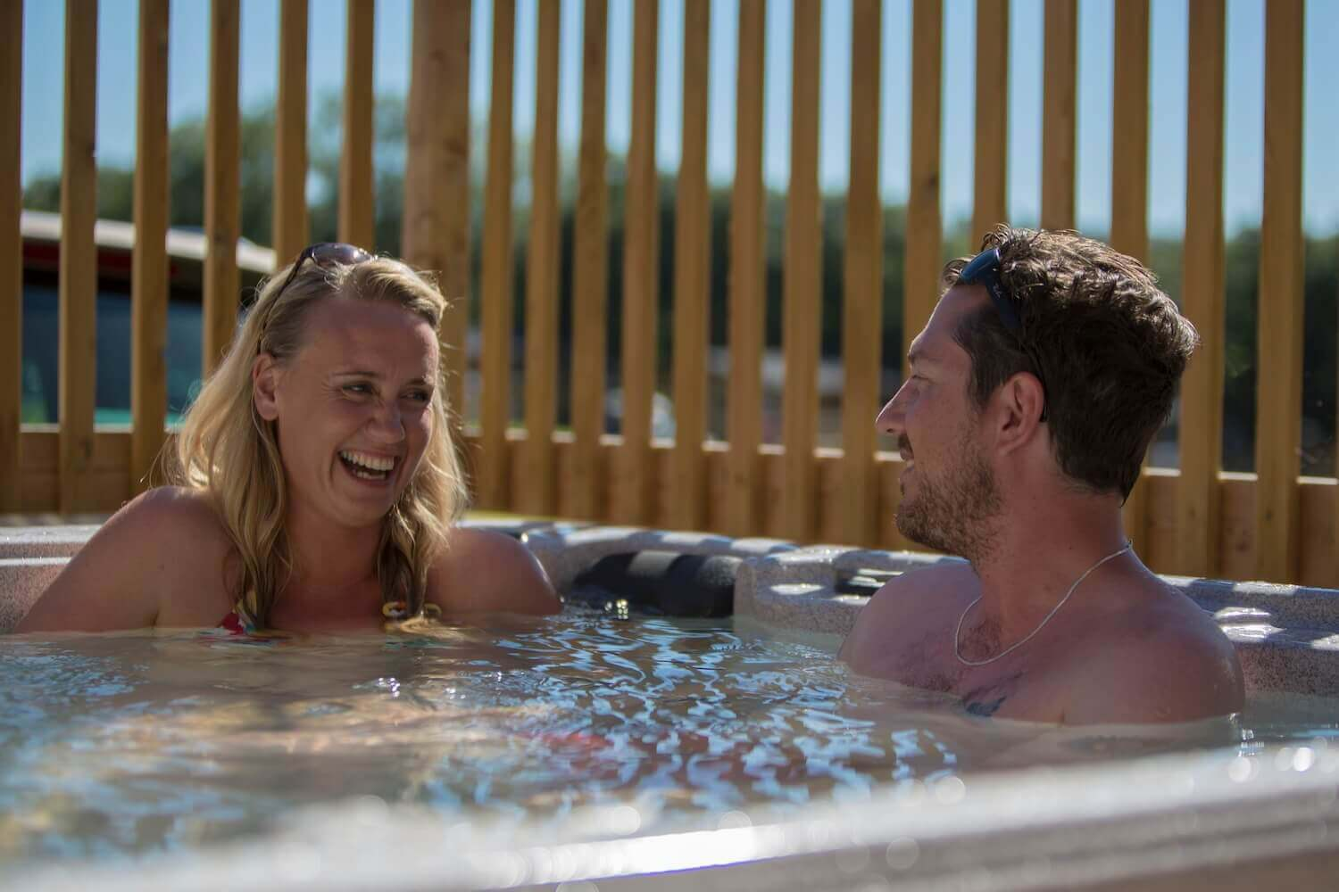 Couple in hot tub